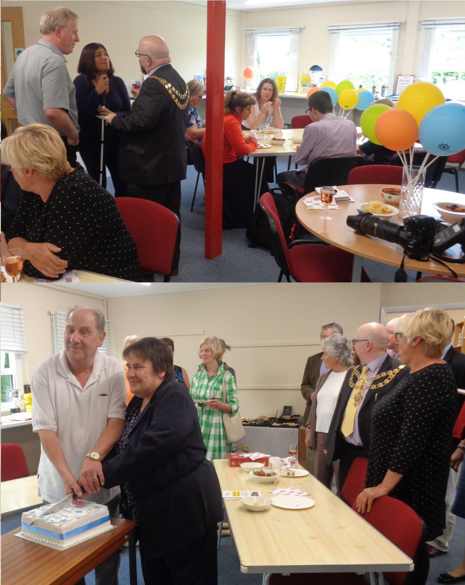 Photos of people in resource room and cutting a cake