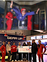 Shot of member indoor skydiving and picture of presentation of cheque to BucksVision
